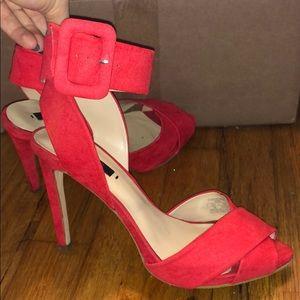 Zara buckle sandals heels in scarlet red suede